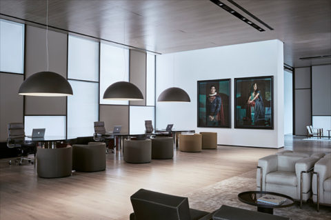 Oluce's Sonora lamp in the new Roomers Hotel designed by Lissoni Architettura