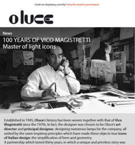 100 years of Vico Magistretti - Master of light icons