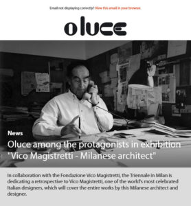 Oluce among the protagonists in exhibition ''Vico Magistretti - Milanese architect''